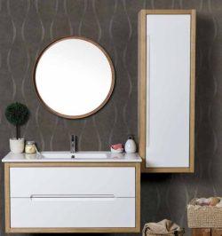 ארון אמבטיה אפוקסי תלוי דגם נילוס כולל כיור ומראה