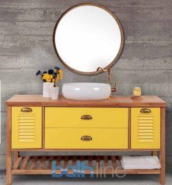 ארון אמבטיה אפוקסי עומד דגם עומר כולל כיור ומראה