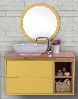 ארון אמבטיה תלוי דגם מעיין +כיור מונח +מראה