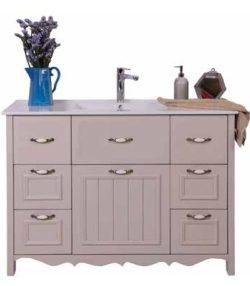ארון אמבטיה אפוקסי עומד דגם פרובנס כולל כיור מונח ומראה