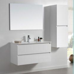 ארון אמבטיה תלוי אפוקסי דגם CALO לבן מבריק כולל כיור ומראה