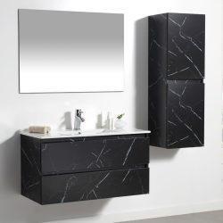 ארון אמבטיה תלוי פורמייקה דגם CALO קלקתא שחור כולל כיור ומראה