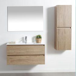 ארון אמבטיה תלוי פורמייקה דגם CALO גוון טבעי כולל כיור ומראה