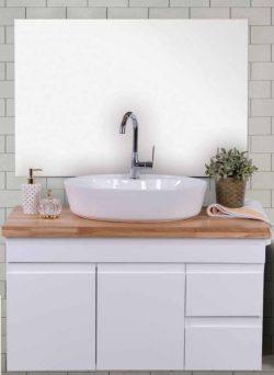 ארון אמבטיה תלוי דגם דרור בוצ'ר כולל כיור ומראה