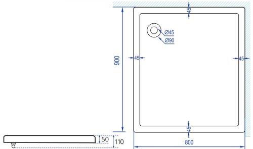 שרטוט אגנית למקלחון מרובע פינתי מידה 90*80 MTI
