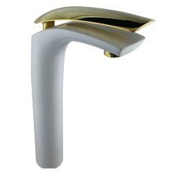 ברז אמבטיה LEXUS גבוהה לבן מט בשילוב זהב מבריק