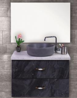 ארון אמבטיה תלוי דגם גרניט כולל כיור ומראה