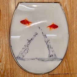 מושב אסלה אקרילי דגים