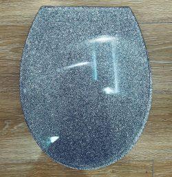 מושב אסלה אקרילי נצנצים אפור