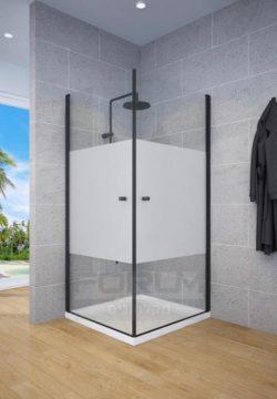 מקלחון פינתי שתי דלתות ציר  OUT/IN SELAQUA פס רחב פרזול שחור