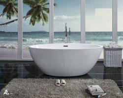 אמבטיה אובלית FREE STAND לבנה
